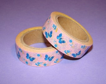 Washi Tape Roll Cute Shabby Chic Blue Butterflies and Flowers Pink Party Favors Gifts 15mm x 6m