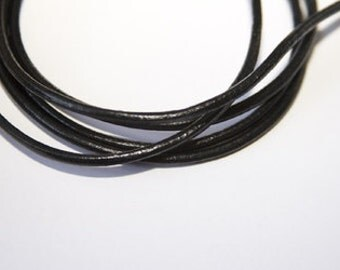 1m leather cord /  3mm round / color: black  LB002