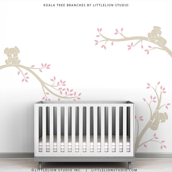 Pink Girl Tree Wall Decal Baby Girl Room Decor Wall Decal Pink Art Decor - Koala Tree Branches by LittleLion Studio