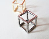 Silver Square Ring. A Chic Silver Cube Ring. Simple and Modern.