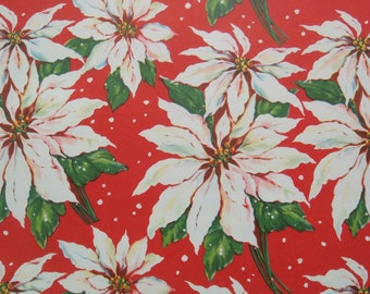 Vintage Christmas Wrapping Paper - Traditional White Christmas Poinsettias - 1 Unused Full Sheet Gift Wrap