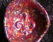 Fleur de Lis mardi gras purple handmade Pottery Bowl