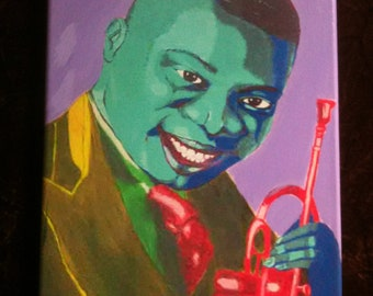 Louis Armstrong Portrait by French Quarter artist Ginger