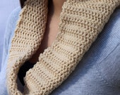 Tan Infinity Scarf Crocheted with Built in Twist in Tan / Oatmeal