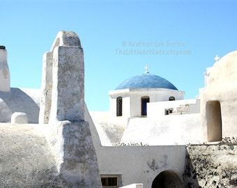Greece Photography - Old Church - Santorini - Wall Decor - Greek Mediterranean Fine Art Print