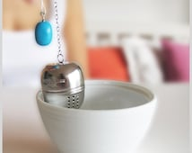 Mystic Tea Strainer, Tea Ball with Turquoise Stone - Gift under 20