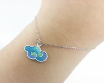 Cute Sky blue Cloud, Silver Necklace and Earrings, Korean Chilbo(cloisonné) finished.