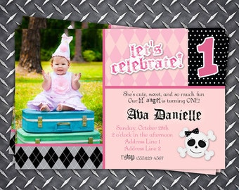 Lil Rockstar Angel Birthday Invitation