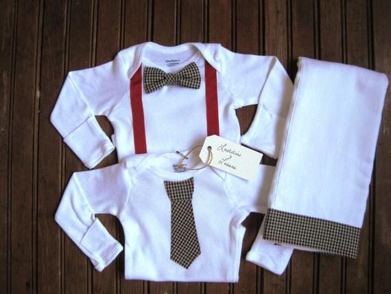 Items Similar To Long Sleeve Bow Tie Amp Necktie Onesie Set