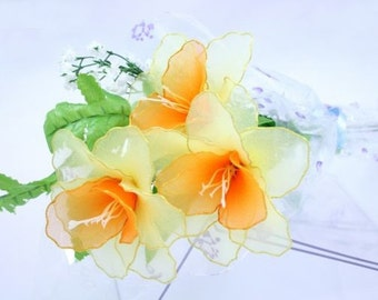 Nylon Flower Daffodil Bouquet (3 Daffodils)