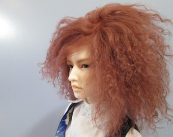 BJD mohair wig - Chestnut brown - 8/9""
