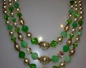 """Vintage  3 Strand Green Necklace 22"""""""