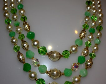 Vintage  3 Strand Green Necklace 22""