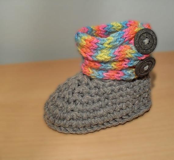 Items similar to Rainbow baby booties crochet pattern-PDF ...