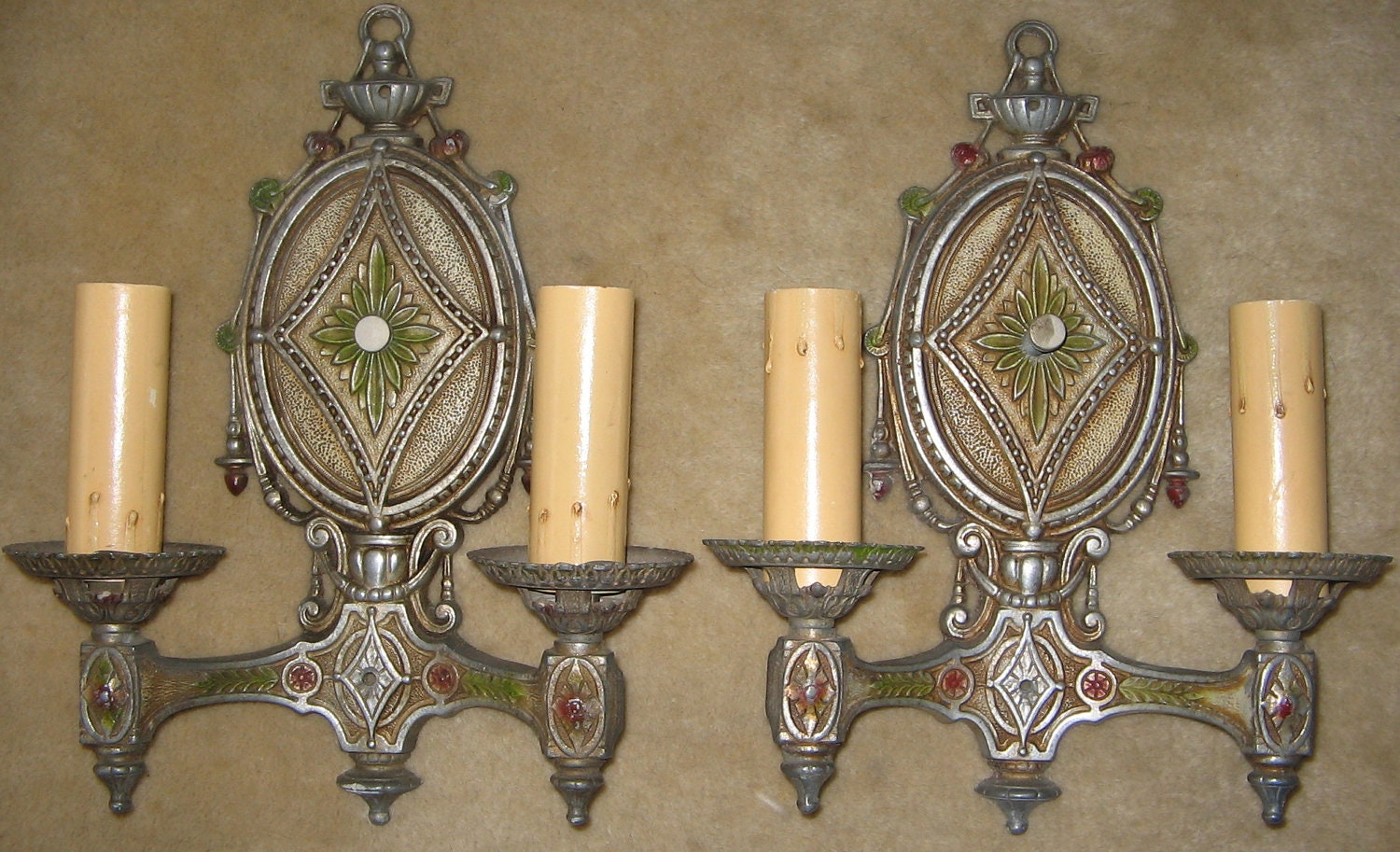 Vintage Pair of Double Candle Wall Sconce Light Fixtures on