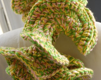 Pink, Green, and Yellow Crocheted 3D Coral decoration