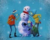 Zombie Snowman Holiday 8x10 Christmas Art Print