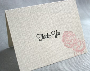 Letterpress Thank You Cards, Ivory, Black and Blush Pink Peony-Rose Cards