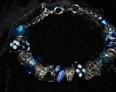 Pandora Style Black and Blue Glass Bead Bracelet