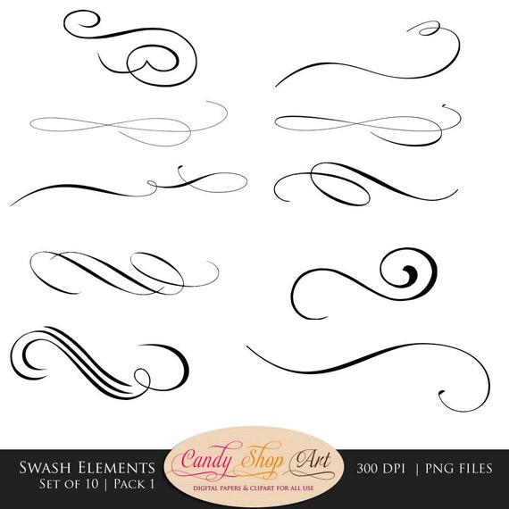 Swashes swirls calligraphy clip art digital