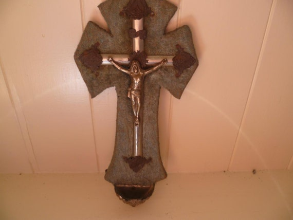 1910's Benitier holy water font crucifiction wall plaque, green velvet backed
