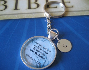 Personalized Initial Scripture Key Chain Bible Verse Ephesians 2:18