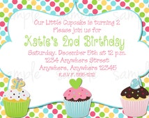 Cupcake Birthday Invitation, sweet birthday invitation, cupcake birthday invite, cupcake party
