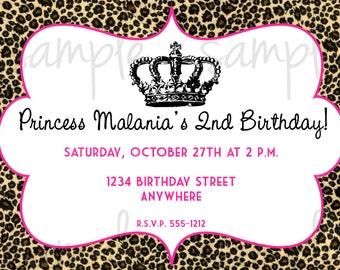 Leopard Princess Birthday Invitation