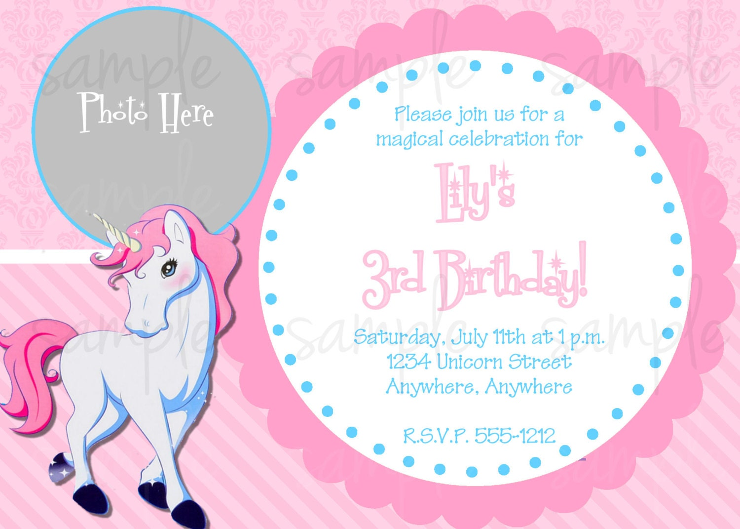 Unicorn Invitation is awesome invitations design