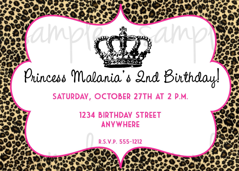 Leopard Princess Birthday Invitation – Cheetah Birthday Invitations