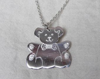 Silver Tommy Teddy Bear Pendant