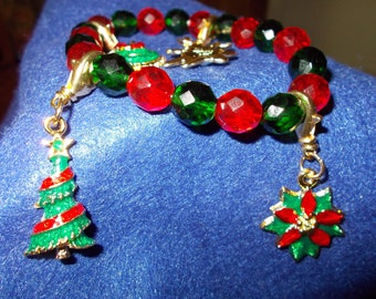 Christmas Charm Bracelets, Red and Green Crystal Beads, Bright Christmas Charms (removable)