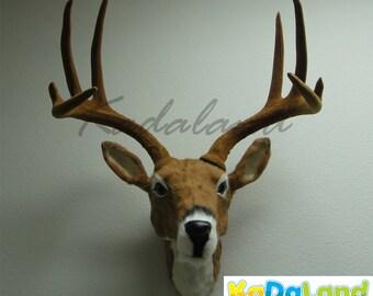 Deer Head Wall hanger Taxidermy Figurine Mount Wildlife Reindeer Furry Animal Large