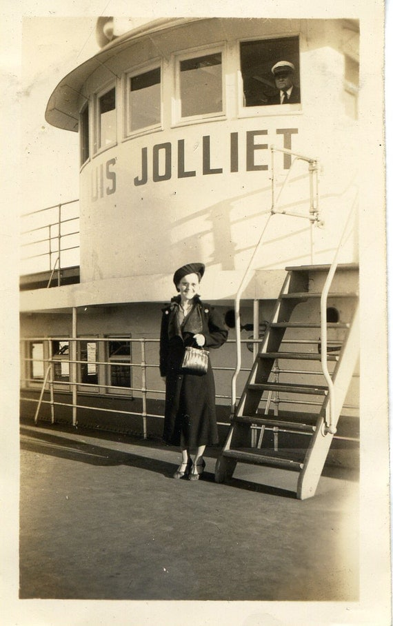 RESERVED Vintage Photo Ferry Boat Woman Jolliet Quebec Captain
