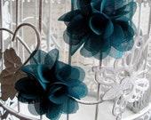 Pair of dark teal flower hair clips