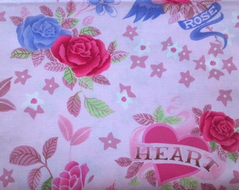 Cotton Quilting Fabric BY the YARD, Hearts & Roses by MMFab, Inc. 44-45 Inches Wide, Home Sewing, Crafts, Quilts, Children's Clothing, More