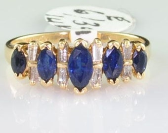 1 ctw Marquise Sapphire & Diamond 14kt Gold Ring Size 6