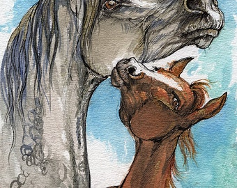 Mother and foal watercolor painting