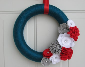 Yarn Wreath-Teal, Red, White and Grey Yarn and Felt Flower Wreath,  Door Wreath 12 inches, Front Door Wreath