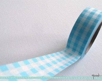 Sky Blue Gingham Checks  Washi Tape / Masking Tape - 10m