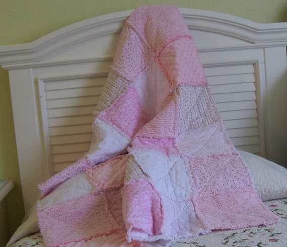 Rag Quilt Delicate Pinks Shabby Style Baby Gift Ready To Ship