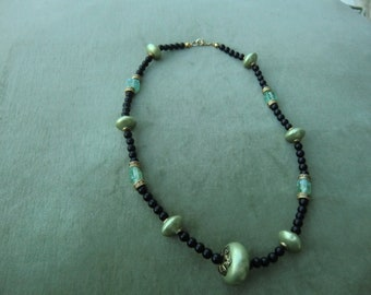 necklace, Adorable black and green  Italian  Beads.