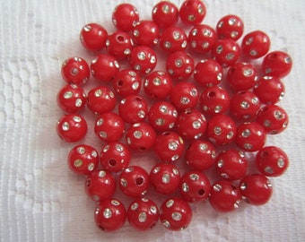 25  Red & Silver Polka Dotted Etched Round Acrylic Beads  8mm