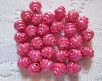 24  Fuchsia Hot Pink Magenta AB Lantern Acrylic Beads  8mm x 10mm