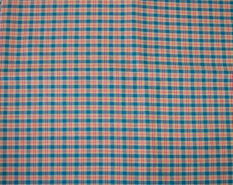 Vintage fabric, teal plaid. 2 yds