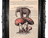 Elephant and the fly agaric- HAND Painted- ORIGINAL ARTWORK Mixed Media  on  antique magazine