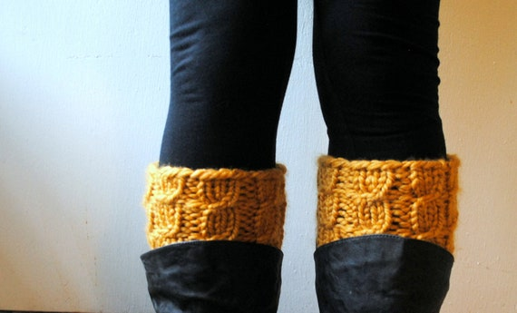 Hand Knit Cabled Boot Cuff in mustard golden rod orange pumpkin