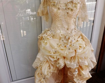 Victorian Wedding Dress Theather Movie Performance Costume Embroidered Beaded Wedding Dress Sz 12