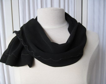 Lovely Feminine Sheer Black Chiffon Long Scarf