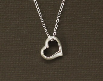 Sterling Silver Heart Necklace - Sterling Silver Open Heart Necklace